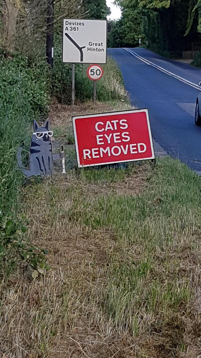A sign next to the Cat's Eyes works on the A361 btween Semington and Seend