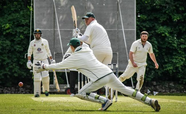 This catch is just out of reach for Winsley wicketkeeper Stuart McDougal, whose side earned a five-wicket win at home to Corsham 2nd in Division One on Saturday. That was just one of two games in the top flight to take place                 Picture: WWW.G