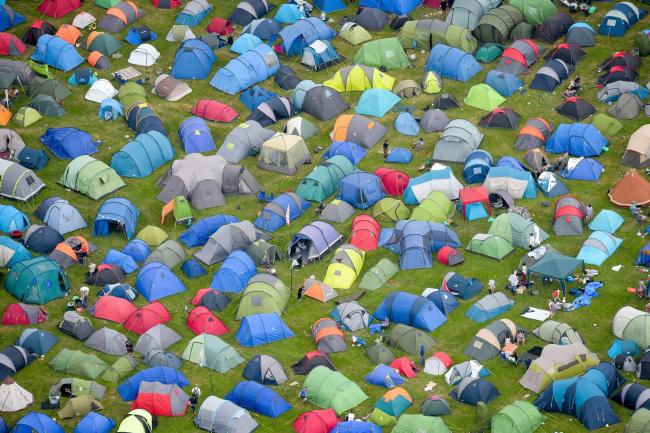Tents during the Glastonbury Festival at Worthy Farm