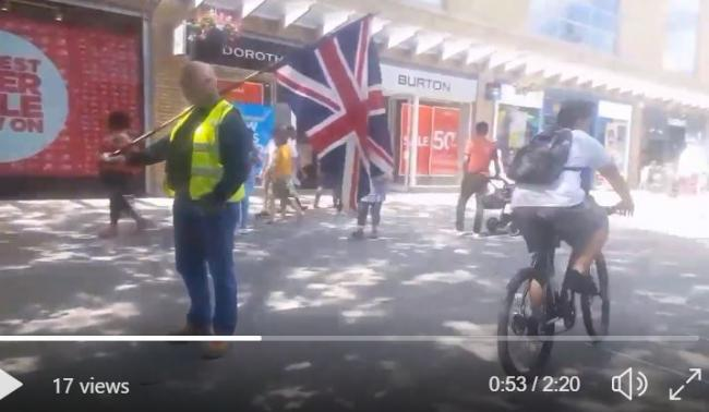 Swindon yellow vests and tyoungsters on bikes had a minor confrontation