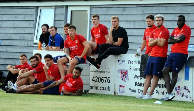 Rob Hunt (left) watches on alongside Dion Conroy and Toumani Diagouraga as Swindon Town face Swindon Supermarine in a pre-season friendly 		 Picture: DAVE EVANS