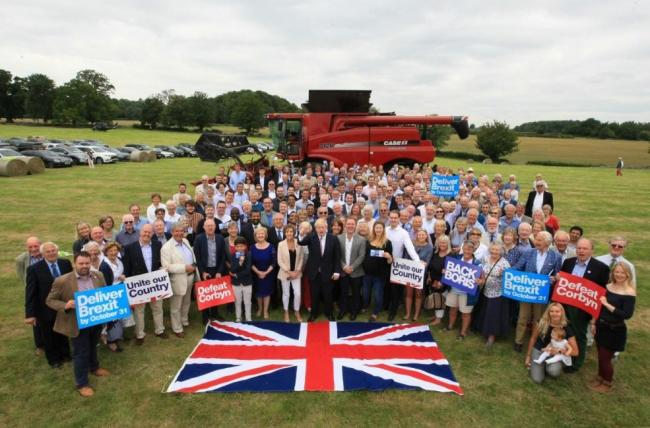 Boris Johnson with supporters in Quenington