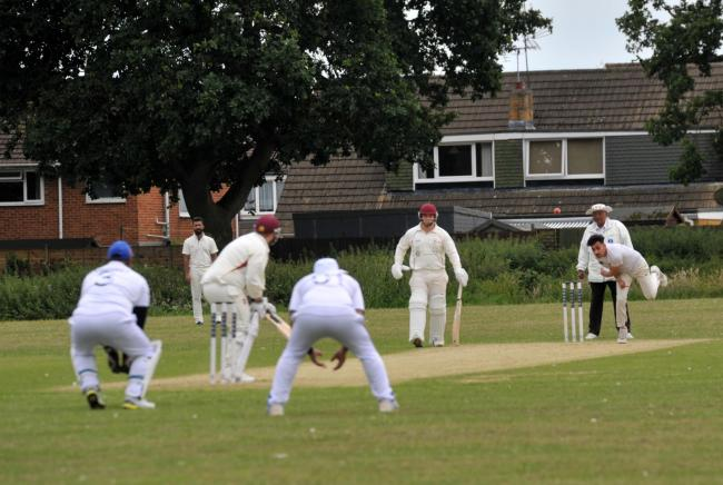 Swindon NALGO in bowling action during their 26-run win at home to Biddestone 2nd on Saturday - a result that sent them to the top of the Division Two table in the Wiltshire Cricket League   Picture: DAVE COX
