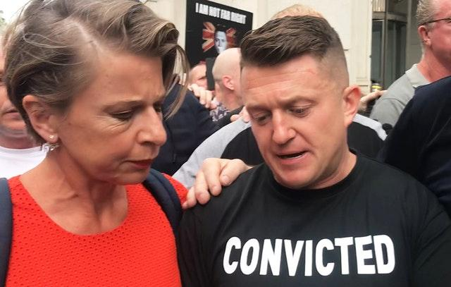 Tommy Robinson with Katie Hopkins outside court (Henry Vaughan/PA)