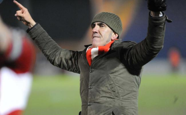 Colchester v STFC        Pic Dave Evans.Paolo Di Canio salutes the victory.