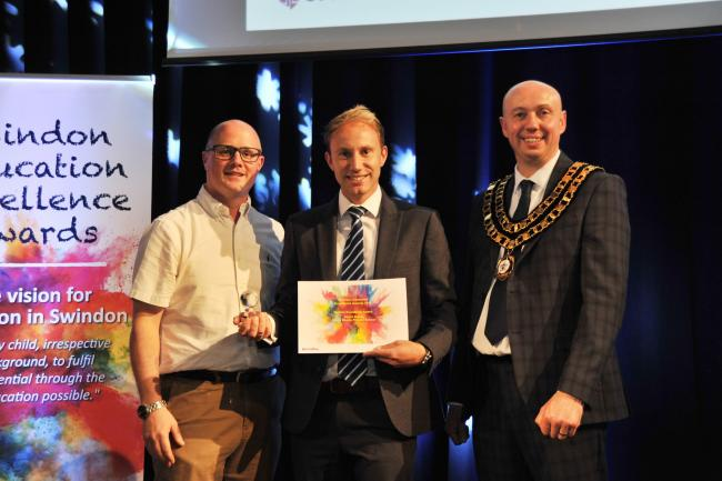 Teachers excellence awards at Steam..left 2 right .Pic - James Phipps, Stuart Shore ( Abbey Meads), Kevin Parry ( Mayor ).Date 19/7/19.Pic by Dave Cox..
