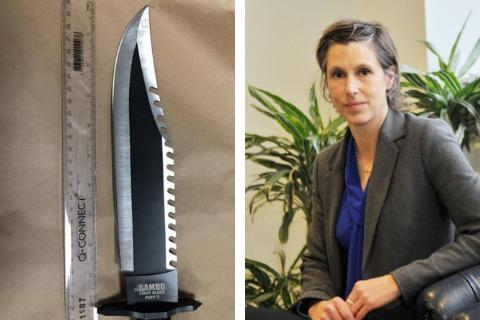A knife involved in a recent Swindon court case and (right) Sonja Leith of Wiltshire Police