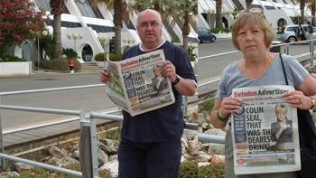 ENJOYING the sunshine of Portugal are Sandy and Krys Munroe from Liden, who packed a copy of the Adver in their suitcase to take on holiday with them.