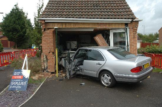 The aftermath of the crash in Juno Way which left a four-year-old boy seriously hurt
