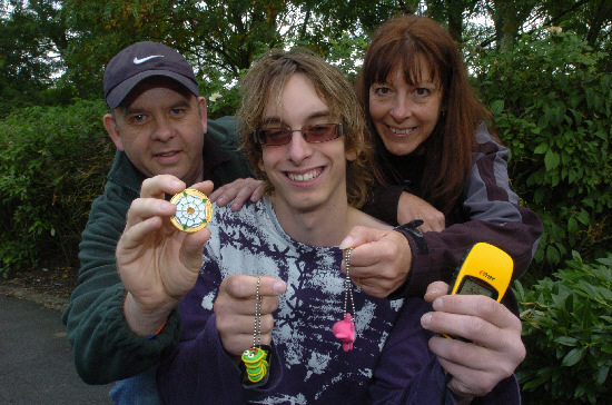 Sam Vaughan, centre, with Richard Vale and Jaki Fairbrother, ready for GeoCaching