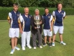 The Westlecot team of Jake Webster, Paul Kistle, Ben Choules and Mike Titcombe - pictured with Wiltshire president Dave Williams - who won the men's fours final at county finals day