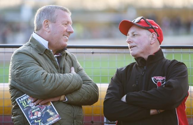 Swindon Robins chairman Terry Russell (left) pictured with team manager Alun Rossiter at Leicester in 2017. 						          PHOTO: Les Aubrey