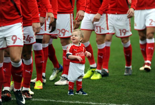 STFC v Port Vale            Pic Dave Evans        17.02.18.Eddie Webb, fifteen months, of Aylesbury Street, Swindon, was chosen as Swindon Town's mascot for their match against Port Vale at the County Ground on Saturday. He presence helped the Town wi