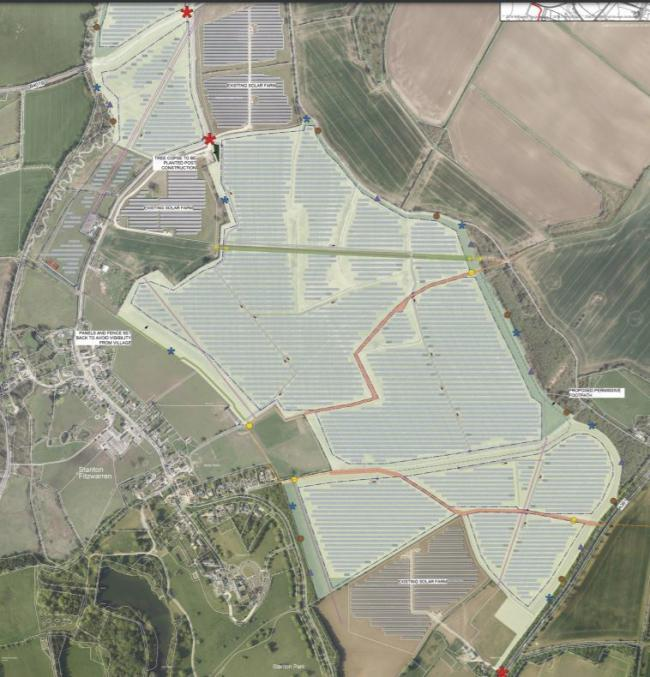 The size and shape of the proposed solar farm according to JMB Solar's application to the borough council