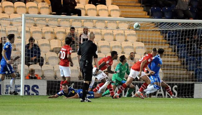 Colchester  v STFC     Pic Dave Evans.Colchester's first goal.