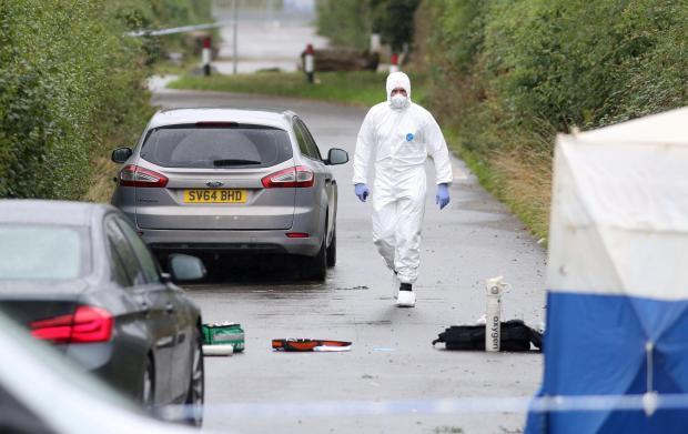 Forensics at the scene of PC Andrew Harper's death.