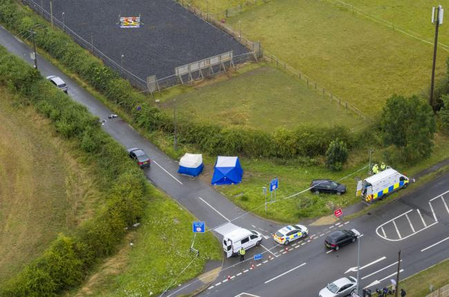 Aerial view of the scene at Ufton Lane, near Sulhamstead, Berkshire, where Pc Andrew Harper, a Thames Valley Police officer, was killed in the line of duty whilst attending a reported burglary on Thursday evening. PRESS ASSOCIATION Photo. Picture date: Fr