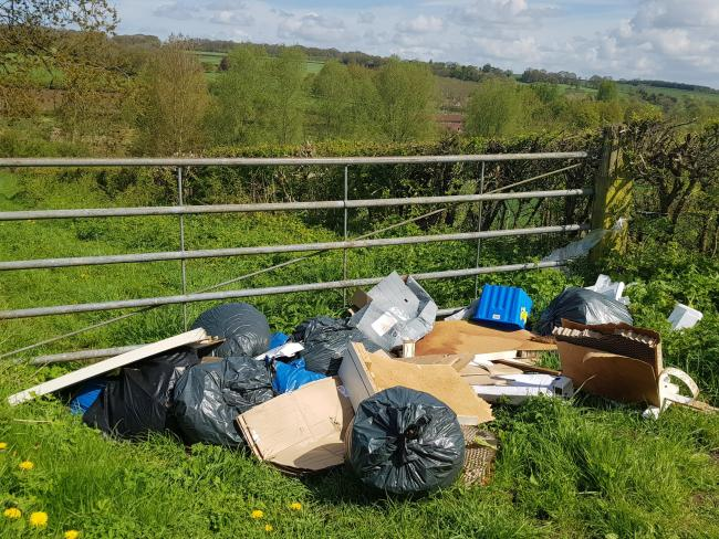 Flytipped waste in Chopping Knife Lane in Marlborough