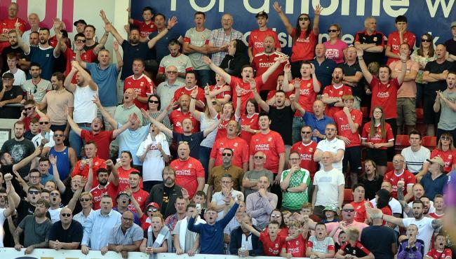 Cheltenham v STFC      Pic Dave Evans     24/08/2019.Swindon's travelling supporters in fine voice.