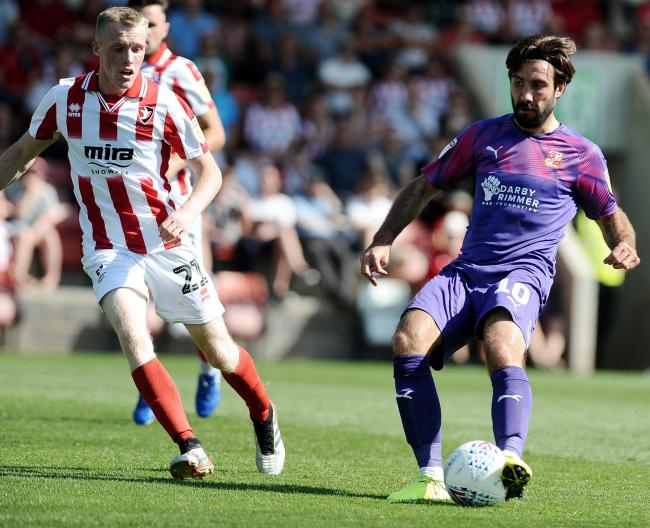 Cheltenham v STFC      Pic Dave Evans     24/08/2019.Michael Doughty in action before his sending off.