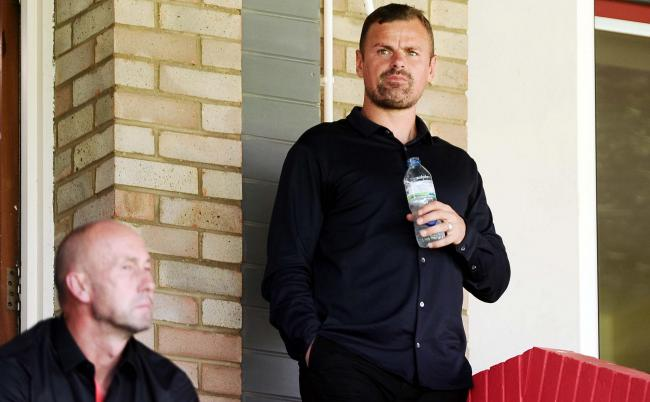 Richie Wellens watches from the stands at the Johnny-Rocks Stadium. PICTURE: DAVE EVANS