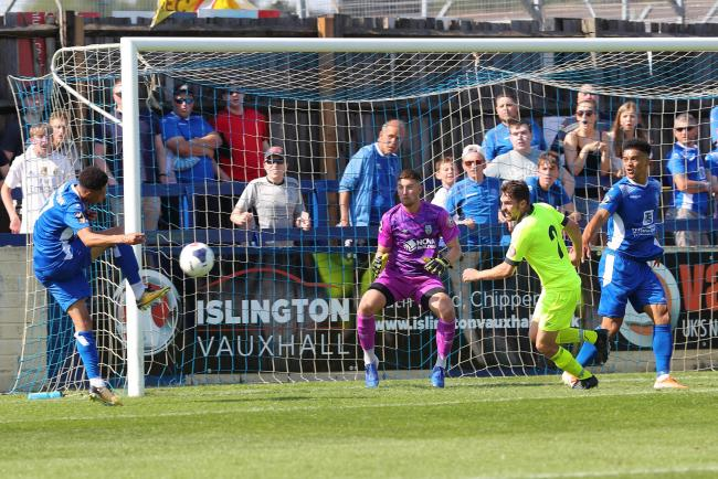Action from the 1-0 win for Chippenham Town (blue) at home to Weymouth. PICTURE: RICHARD CHAPPELL