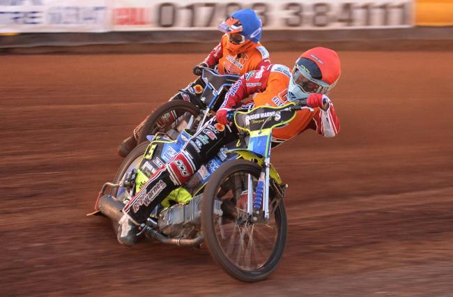 Swindon Robins v Peterborough Panthers   Pic Dave Evans.Troy Batchelor and Ellis Perks, the winning pair in heat seven.