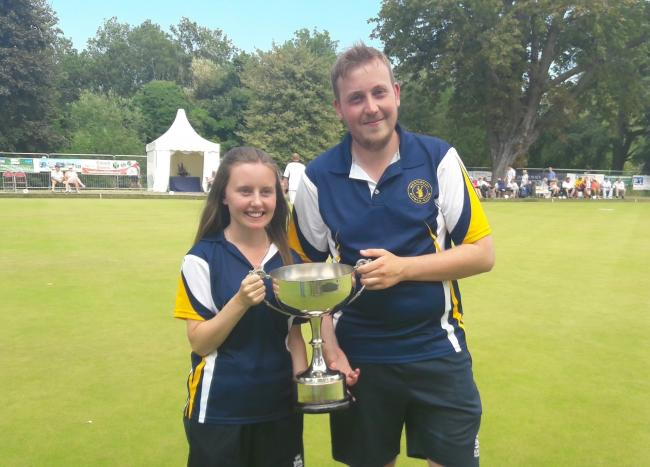 Westlecot players Lucy Smith and Mike Titcombe triumphed in the mixed pairs competition at the national outdoor bowls championships