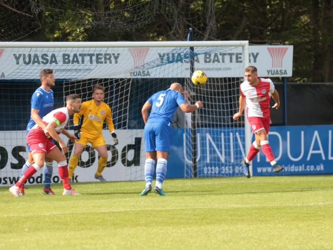 Simon Downer goes close with a header for Swindon Supermarine against Poole Town; Saturday, August 31, 2019; PICTURE: JEFF YOUD