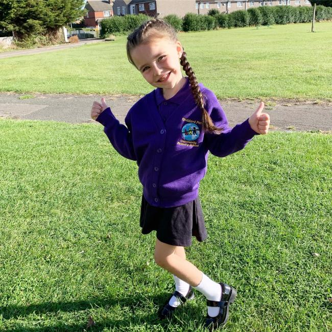 Saphira's first day in Reception Class with Goddard Park Primary School. She is very excited to be Joining her twin brothers who are in year 6 & her elder brother & sister who are in Dorcan Academy