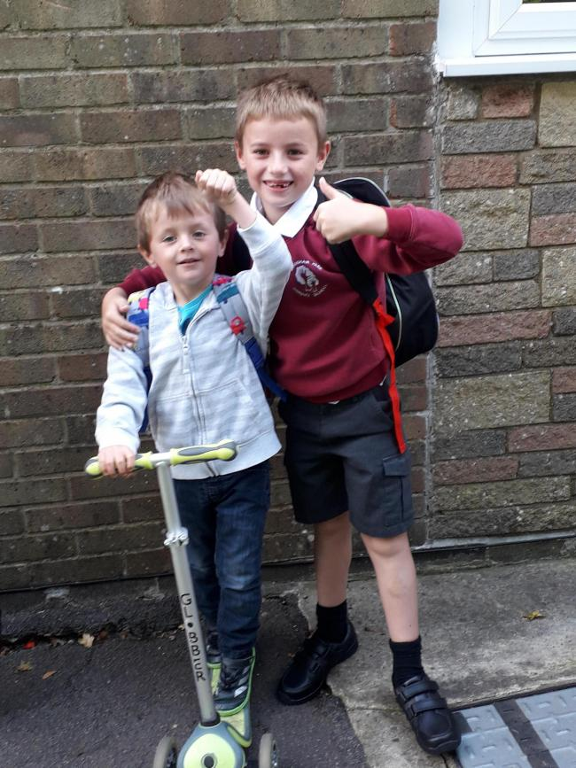 James's first day in Year 3 at Covingham Park Primary and Matthew's first day at Roundabout pre school