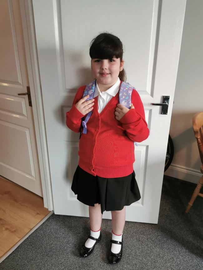 Florence's first day into year 3 at East Wichel School.