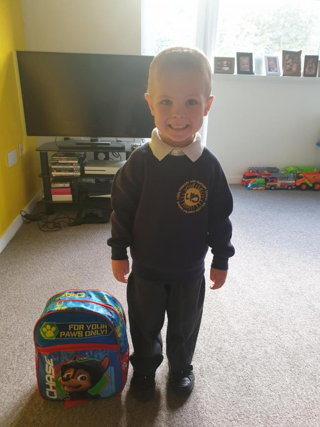 First day in Reception for Ryley