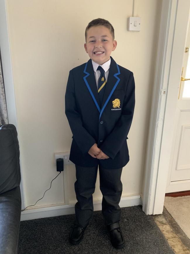 First day of secondary school for my son Harlan Carey