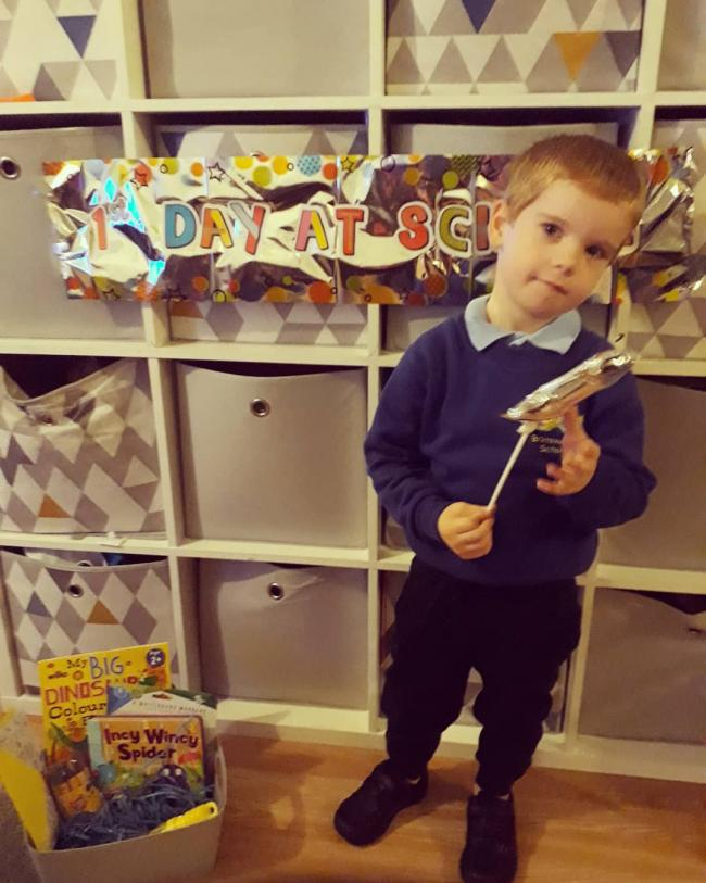 Kai's first day at brimble hill! We  celebrated with lots of balloons, bubbles and a first day of school box with his favourite things to help him understand what a special day it is.