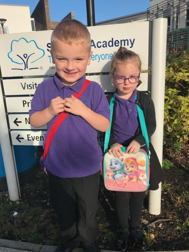 Twins Lola and Gavin on first day of reception at Swindon academy along with their cousin Isabella who is also starting reception