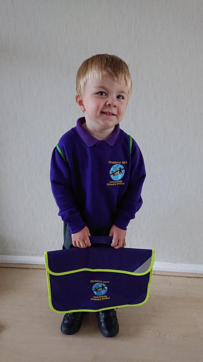Connor first day at reception at Goddard Park school. He was looking forward to starting school. Enjoying every minute