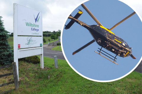 Four arrested after police helicopter joins search in grounds of Lackham College
