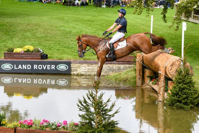 Tim Price (NZL) riding BANGO during cross country phase of the Land Rover Burghley Horse Trials in the grounds of Burghley House near Stamford in Lincolnshire in the UK between 5 - 8th September 2019