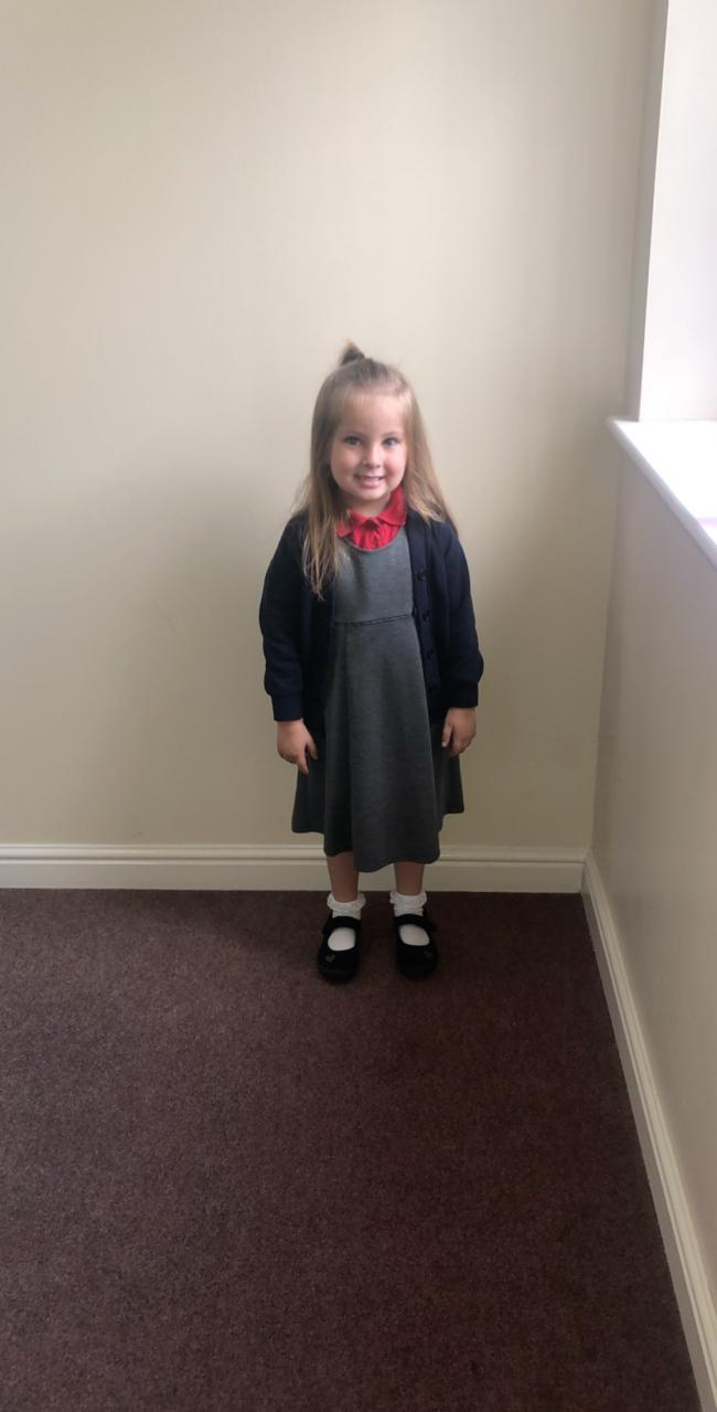 Bobbi Mcpherson first day in reception at redoaks primary school.