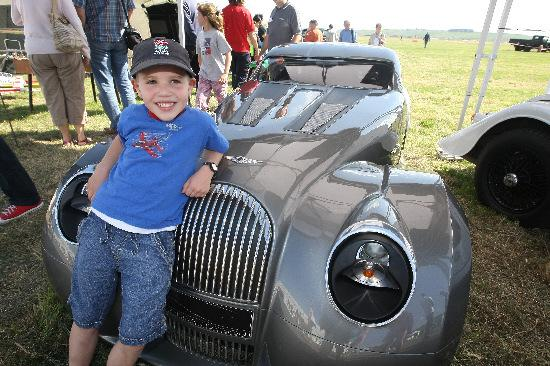 Toby Brickwell with a Morgan concept car