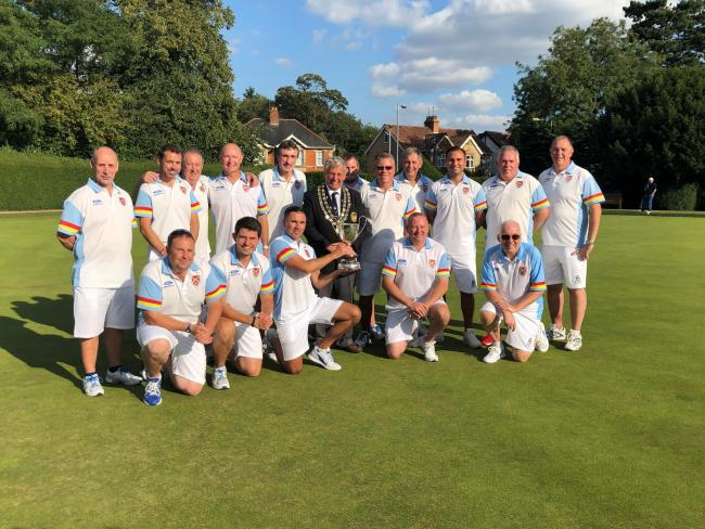 The Royal Wootton Bassett team who won the 2019 Wiltshire Men's Four Rink League play-offs after beating Westlecot in the final. The trophy was presented by county men's president Dave Williams (Chippenham Park)
