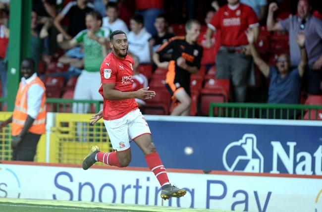 STFC v Macclesfield       Pic Dave Evans     14/09/2019.Keshi Anderson celebrates his opening goal.