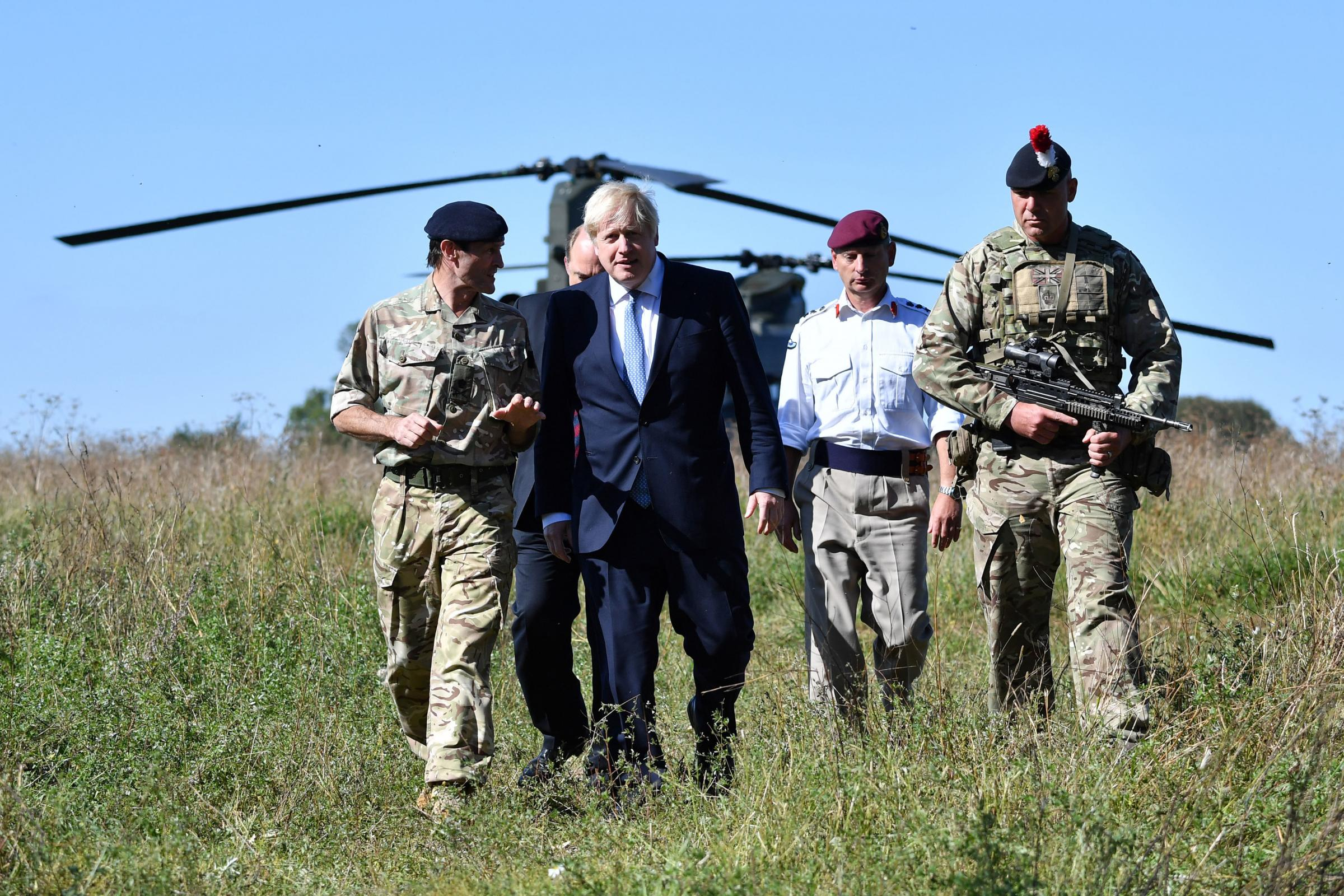 Prime Minister Boris Johnson meets troops on Salisbury Plain