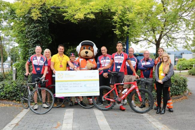 Swindon Wheelers with the Wiltshire Air Ambulance