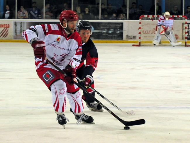 Swindon Wildcats (red/white) v Invicta Dynamos (red/black). Pic shows Max Birbraer for Swindon.