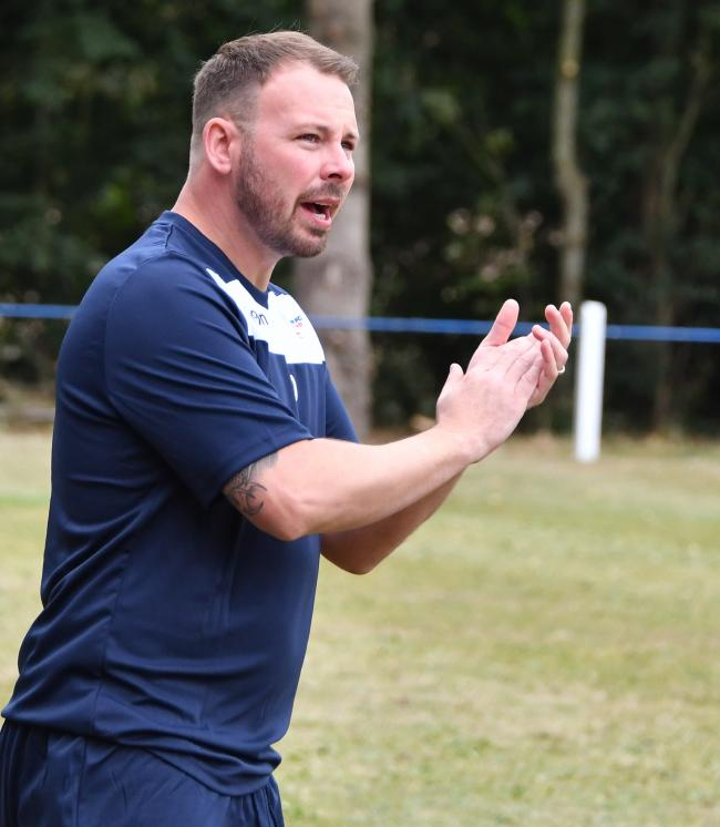 Shrivenham manager Gareth Davies. Shrivenham 1 Virginia Water 1. Picture: CALYX PIX