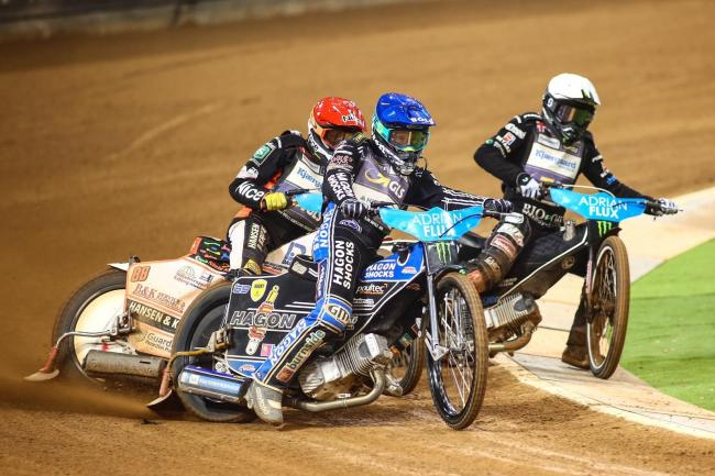 Jason Doyle leads Niels-Kristian Iversen and Tai Woffinden at the British Grand Prix. PICTURE: Les Aubrey