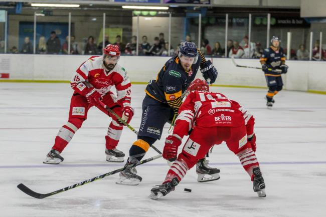 Swindon Wildcats player coach Aaron Nell (left) and Neil Liddiard (right) in action during the 9-6 win at home to Raiders during Saturday night's opening fixture of the 2019-20 National League season