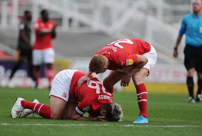 STFC v Newport County     Pic Dave Evans      28/09/19.Dion Conroy striken by injury after eleven minutes.